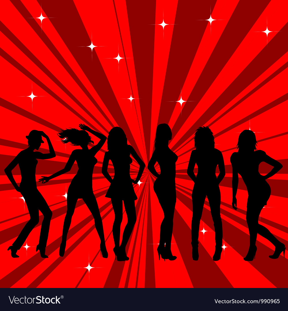 Beautiful and sexy girl silhouettes dancing vector | Price: 1 Credit (USD $1)