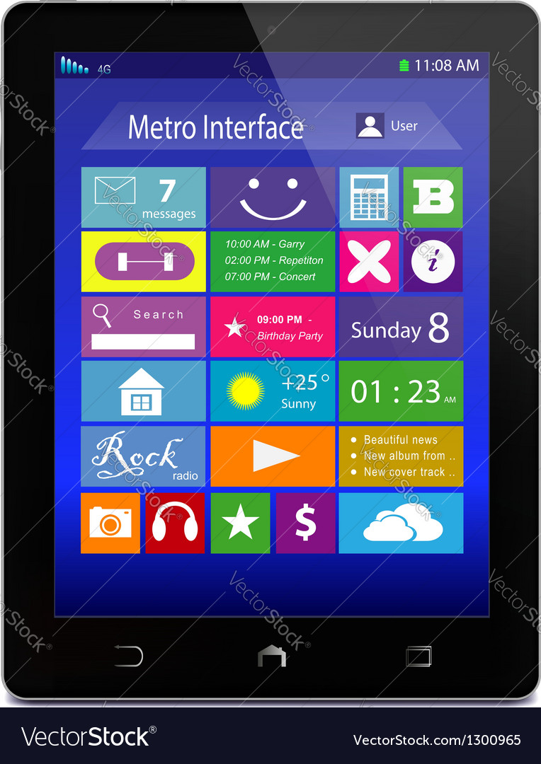 Black tablet pc with metro icons on display vector | Price: 1 Credit (USD $1)