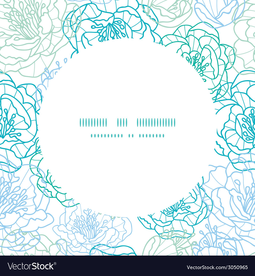 Blue line art flowers circle frame seamless vector | Price: 1 Credit (USD $1)