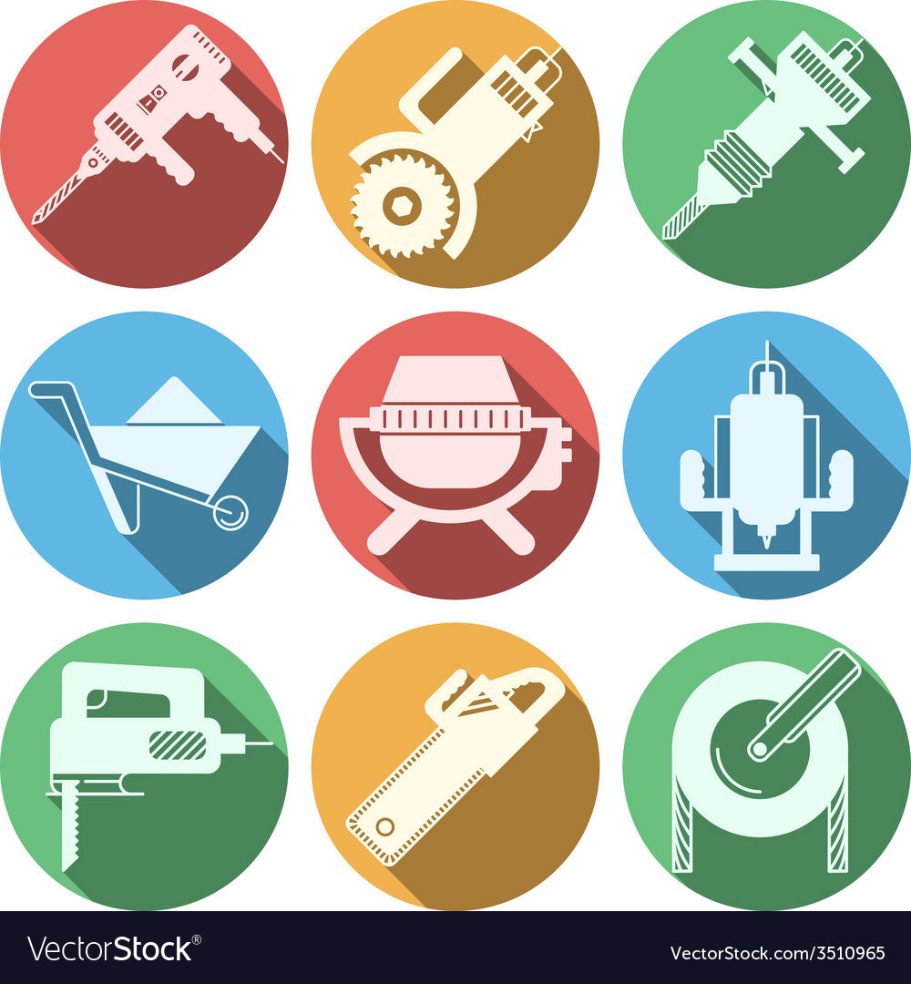 Flat icons for construction equipment vector | Price: 1 Credit (USD $1)