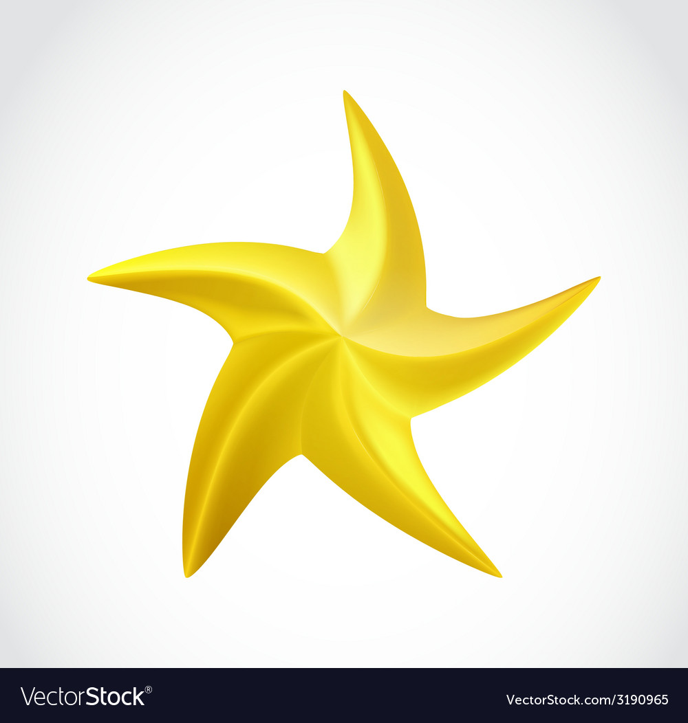 Gold swirl star isolated vector | Price: 1 Credit (USD $1)
