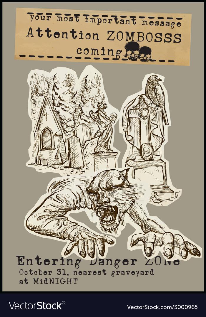 Halloween placard - hand drawings vector | Price: 1 Credit (USD $1)