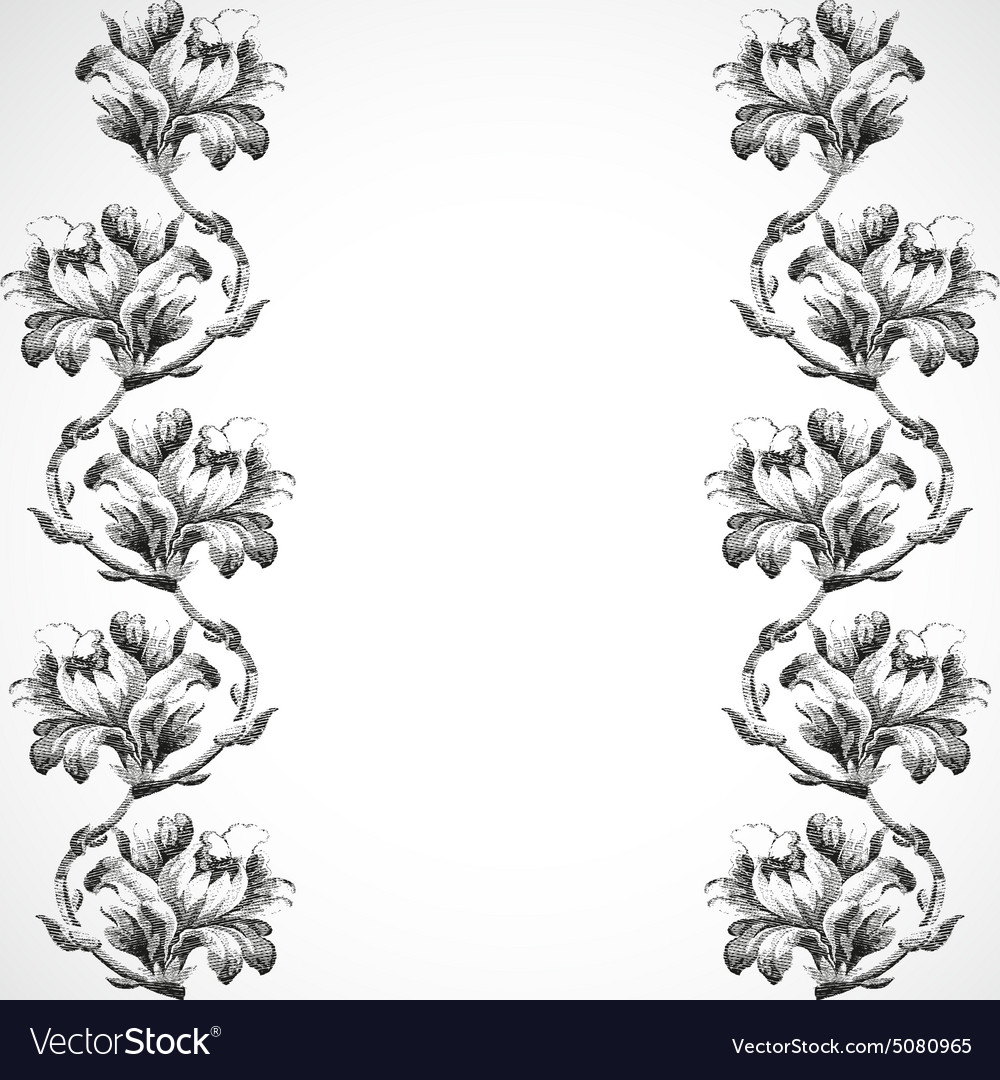 Handdrawn vertical border flowers of lily vintage vector