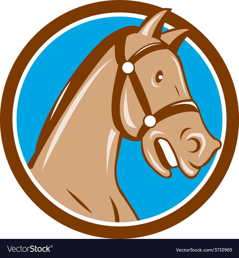 Horse head bridle circle cartoon vector | Price: 1 Credit (USD $1)