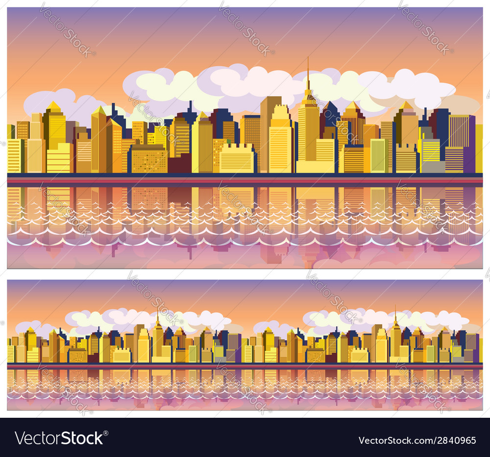 Morning city vector | Price: 1 Credit (USD $1)