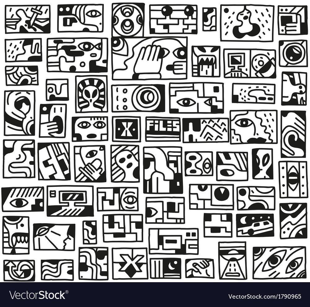 Paranormal things secret crime - doodles set vector | Price: 1 Credit (USD $1)