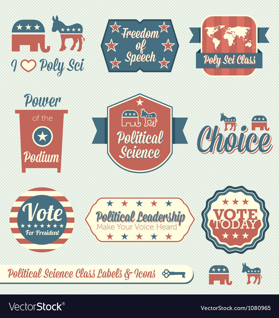 Political science class labels and icons vector   Price: 1 Credit (USD $1)