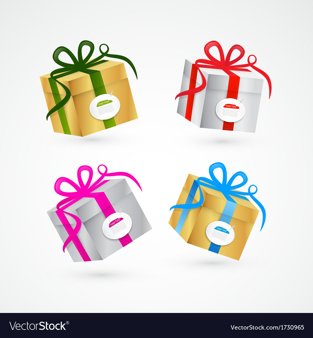 Present box gift box set gold and silver vector | Price: 1 Credit (USD $1)