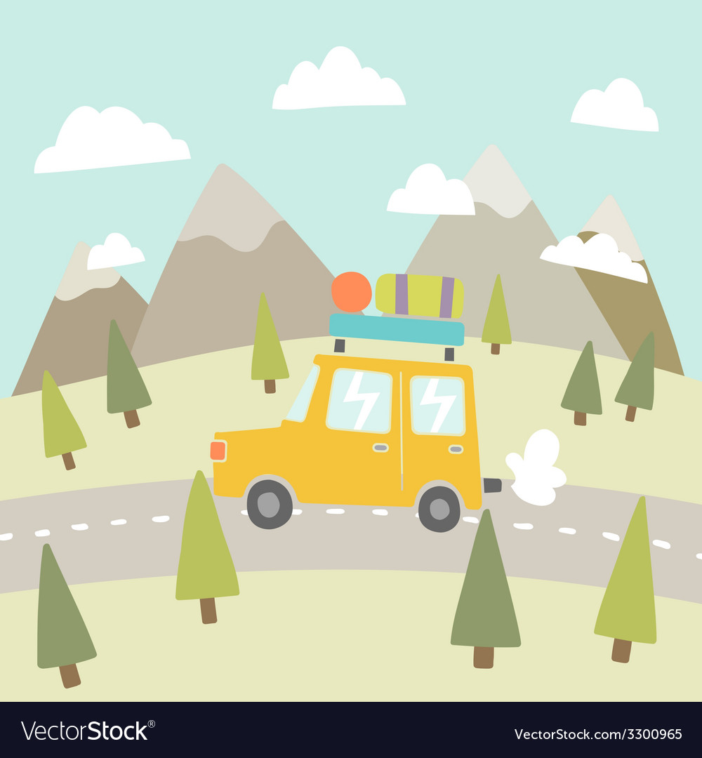 Road trip mountain landscape vector | Price: 1 Credit (USD $1)