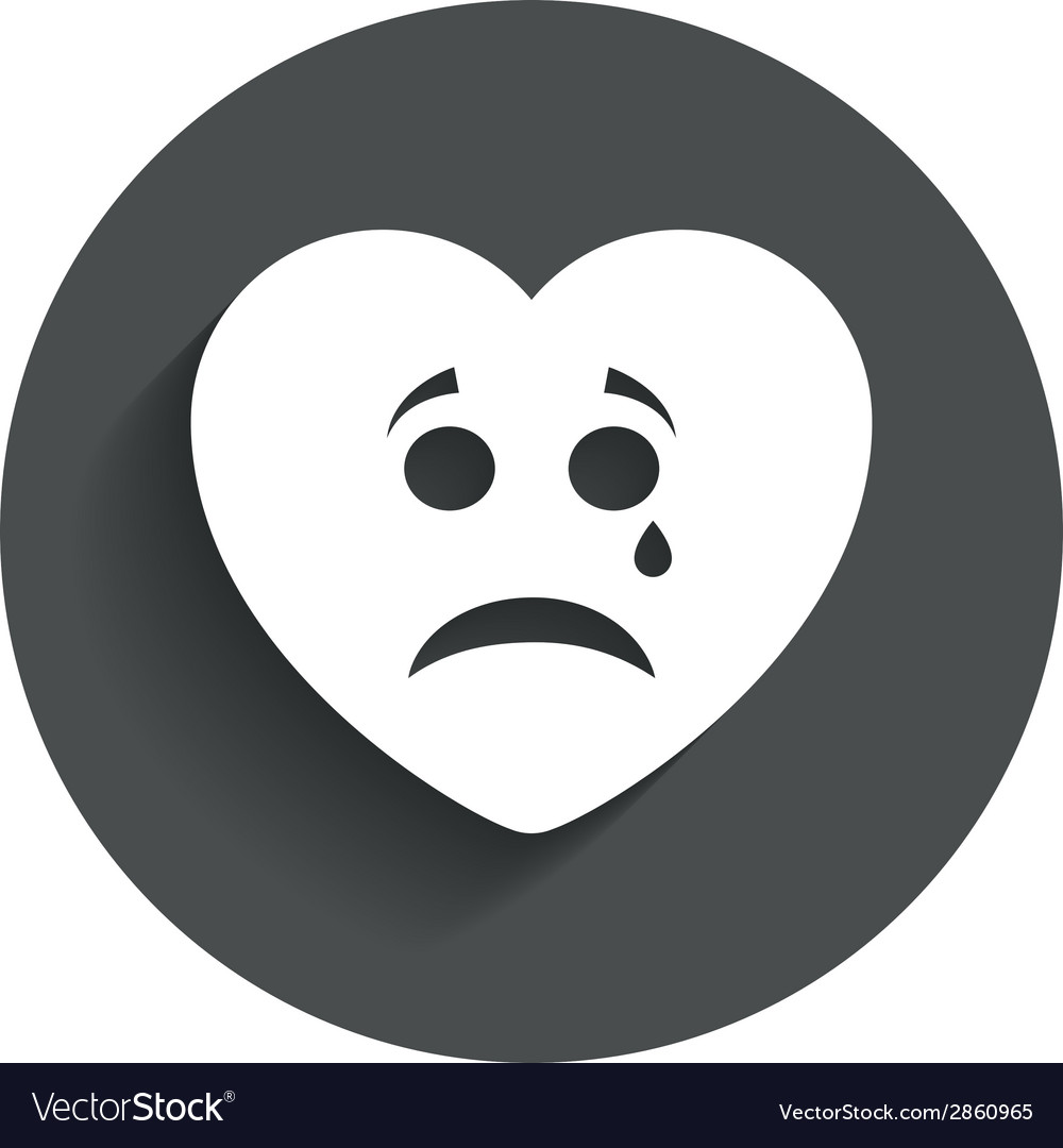 Sad heart face with tear icon crying symbol vector | Price: 1 Credit (USD $1)