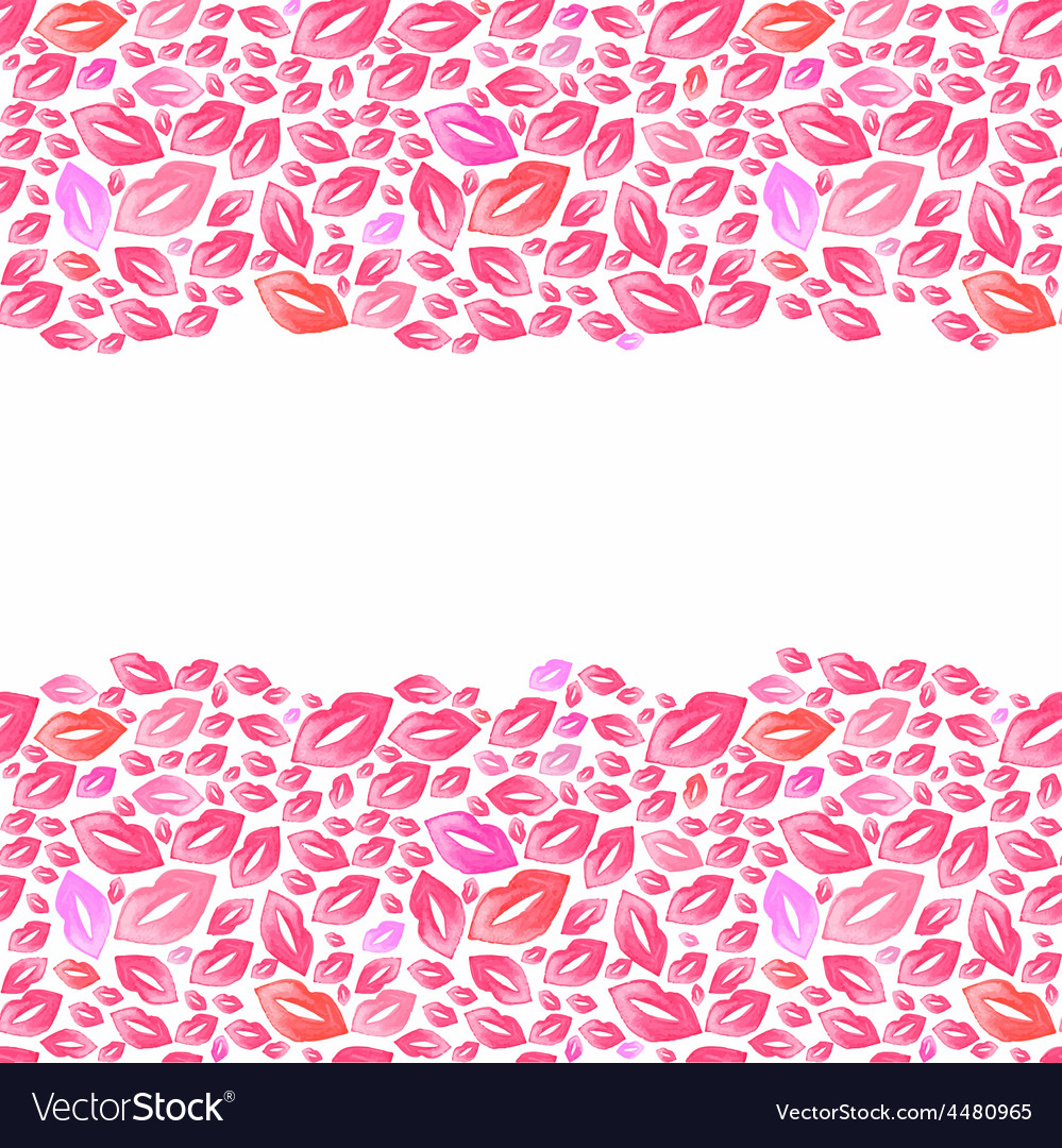 Seamless watercolor borders with lip stains on the vector | Price: 1 Credit (USD $1)