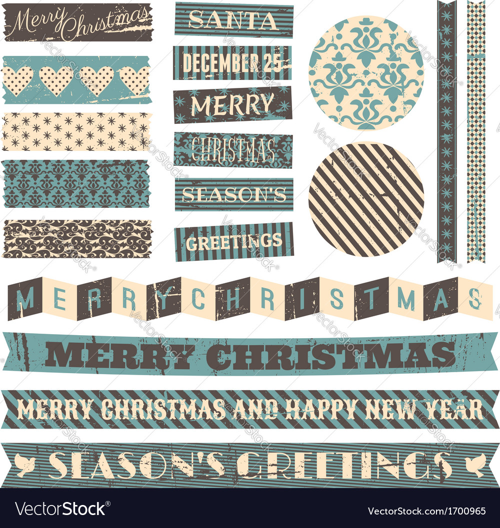 Vintage style christmas design elements set vector | Price: 1 Credit (USD $1)
