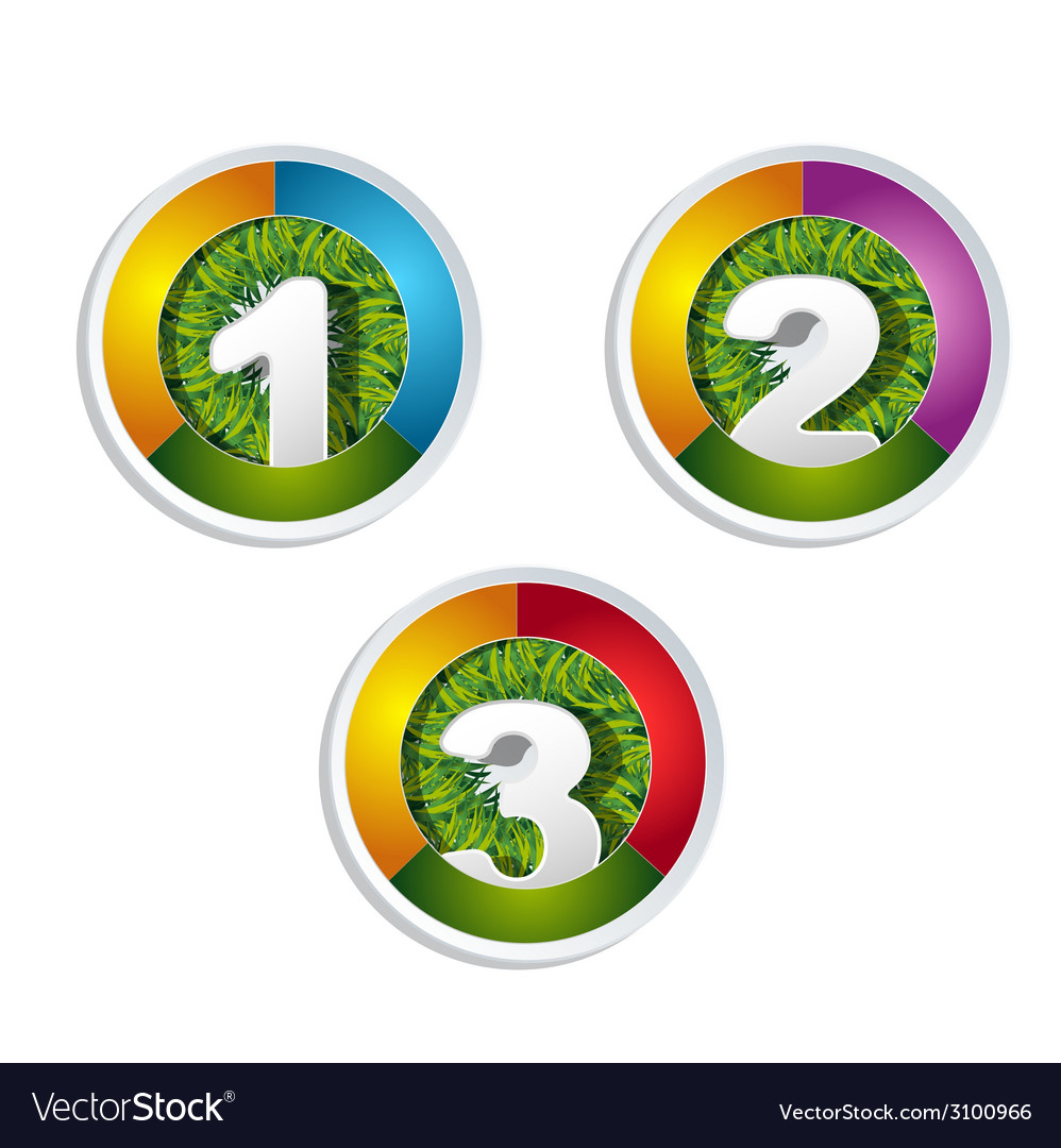 1 2 3 option button with grass element vector | Price: 1 Credit (USD $1)