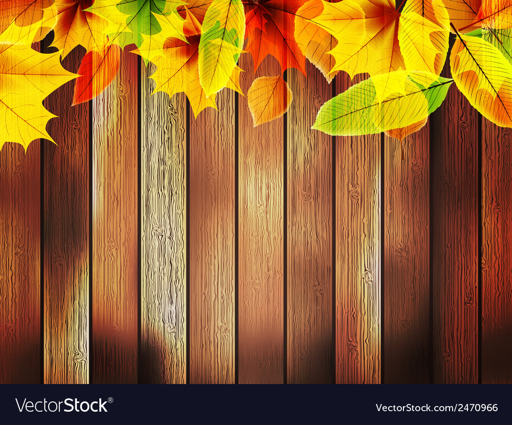 Autumn leaves over old wooden plus eps10 vector | Price: 1 Credit (USD $1)
