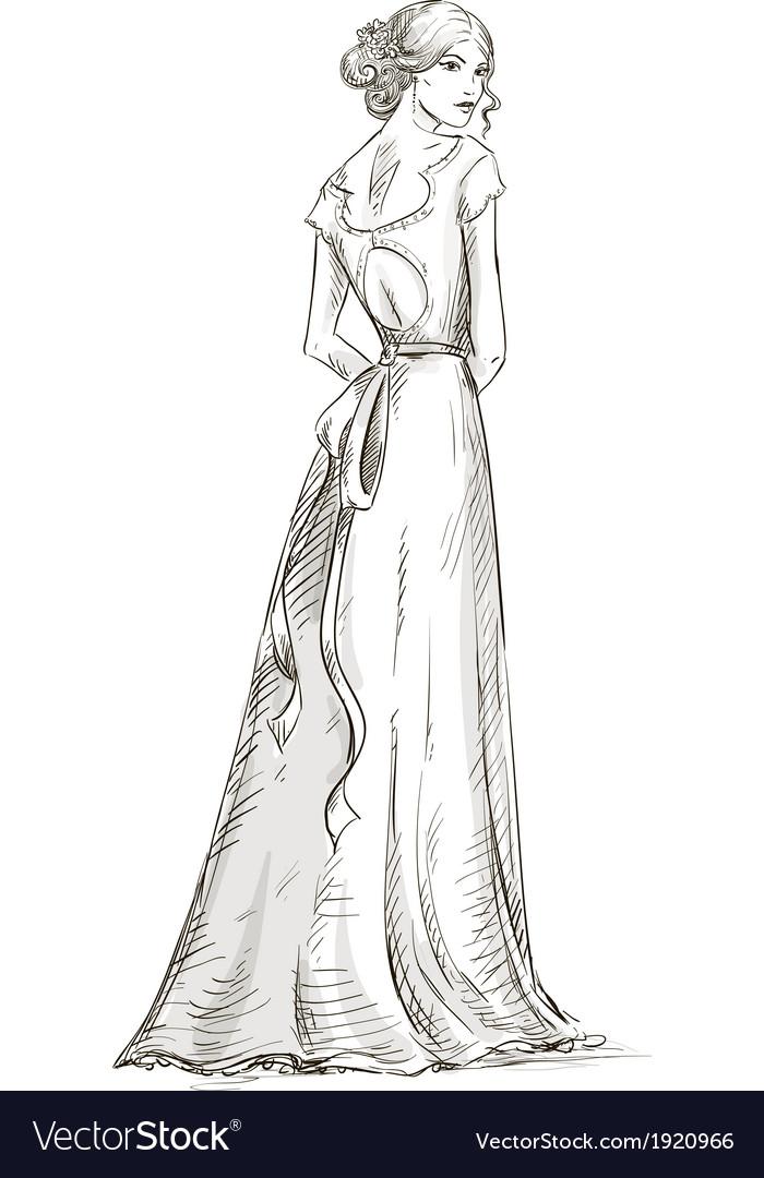 Beautiful girl bride bridal dress vector   Price: 1 Credit (USD $1)