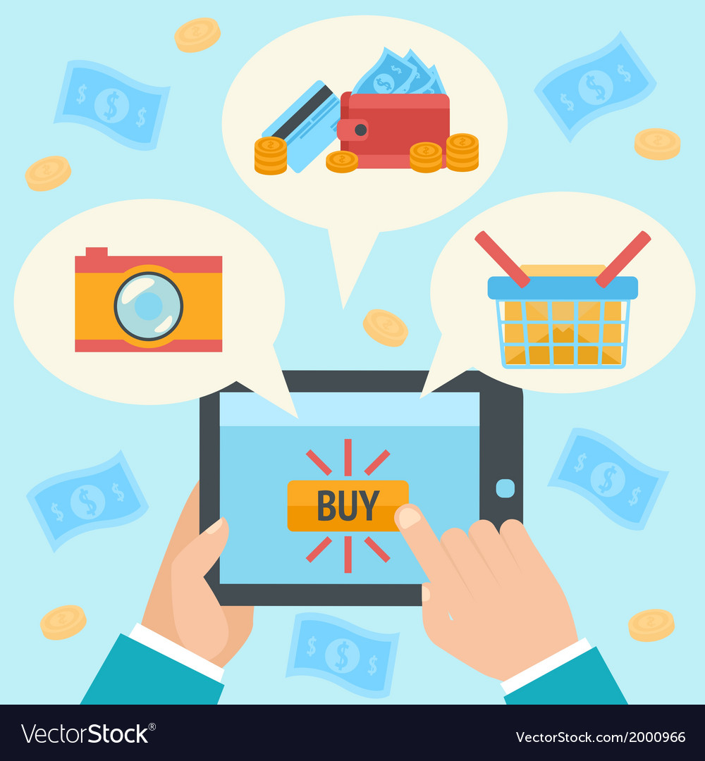 Business hand making internet purchase vector | Price: 1 Credit (USD $1)