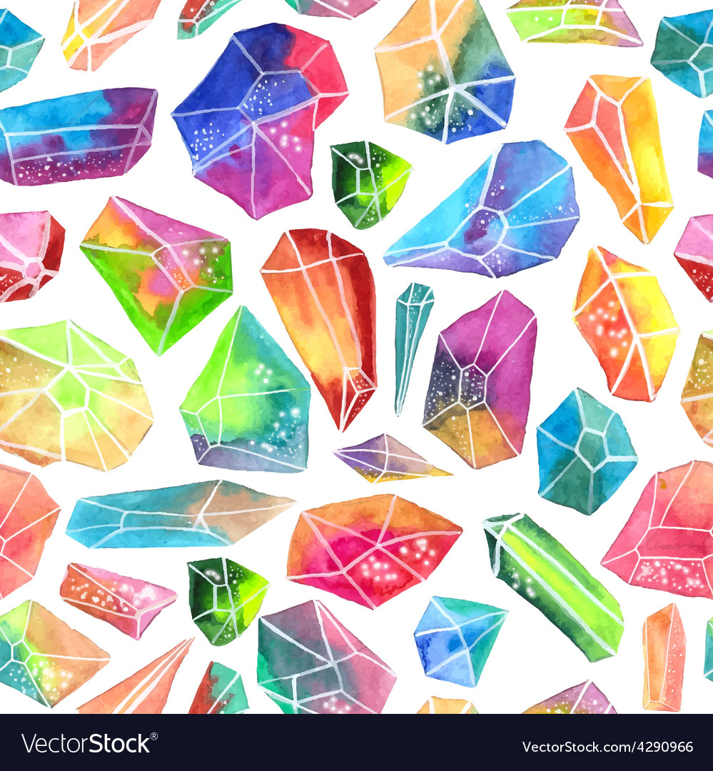 Colorful watercolor gem pattern beautiful crystal vector | Price: 1 Credit (USD $1)