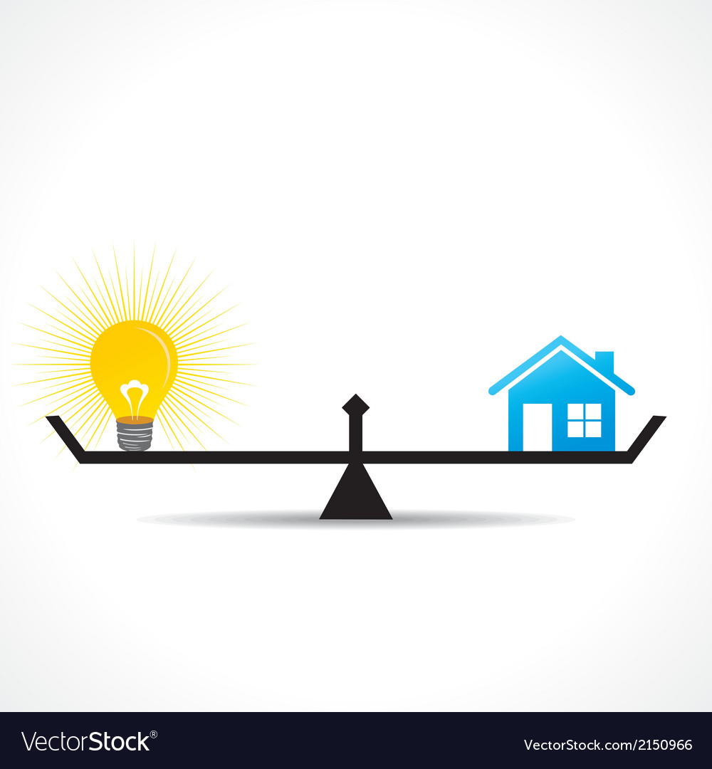Compare home and bulb idea concept vector | Price: 1 Credit (USD $1)