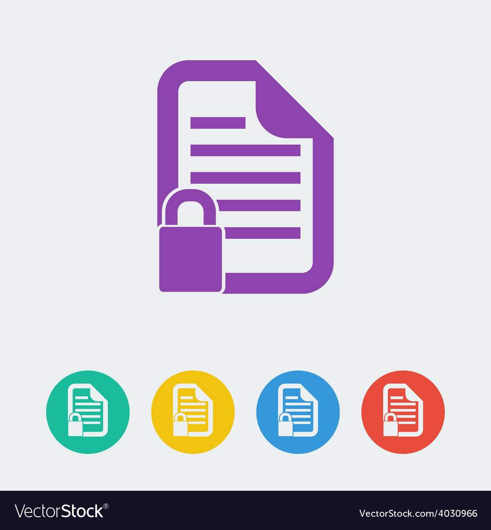 Document lock flat circle icon vector | Price: 1 Credit (USD $1)