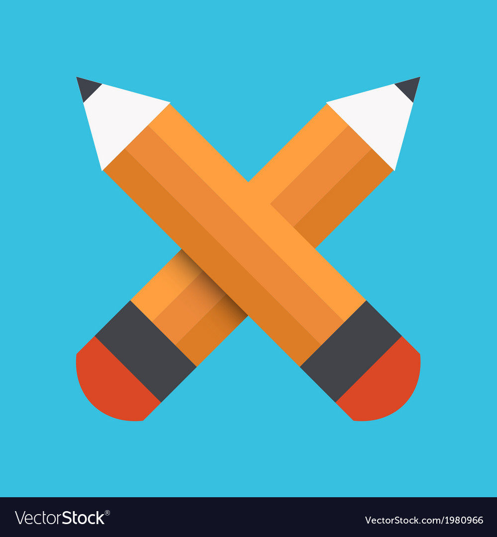 Flat pencil icon on blue background vector | Price: 1 Credit (USD $1)