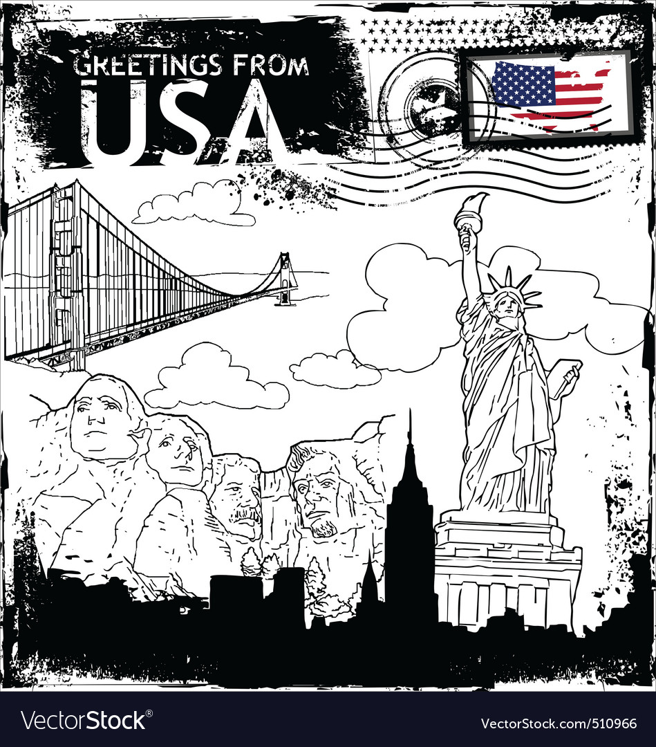 Greetings from usa vector | Price: 1 Credit (USD $1)