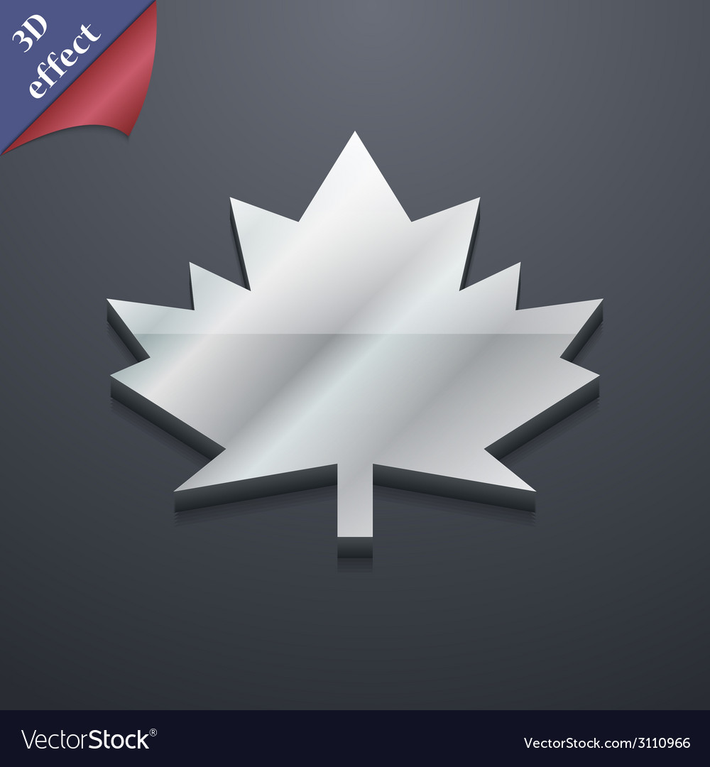 Maple leaf icon symbol 3d style trendy modern vector | Price: 1 Credit (USD $1)