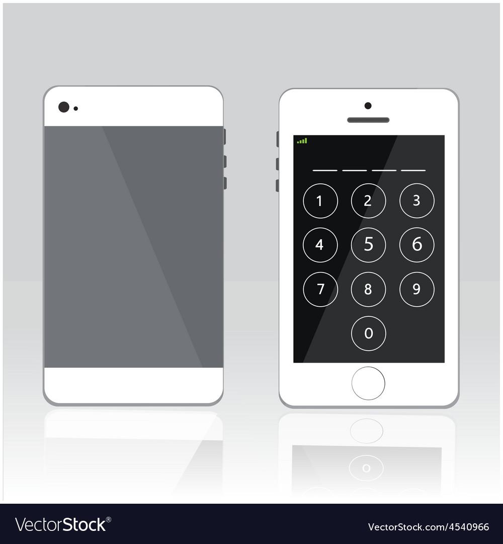 Password on white phone vector   Price: 1 Credit (USD $1)