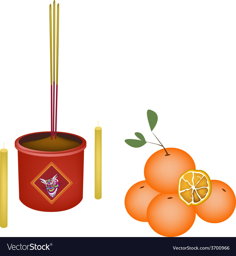 Ripe orange fruits for new year worship vector | Price: 1 Credit (USD $1)