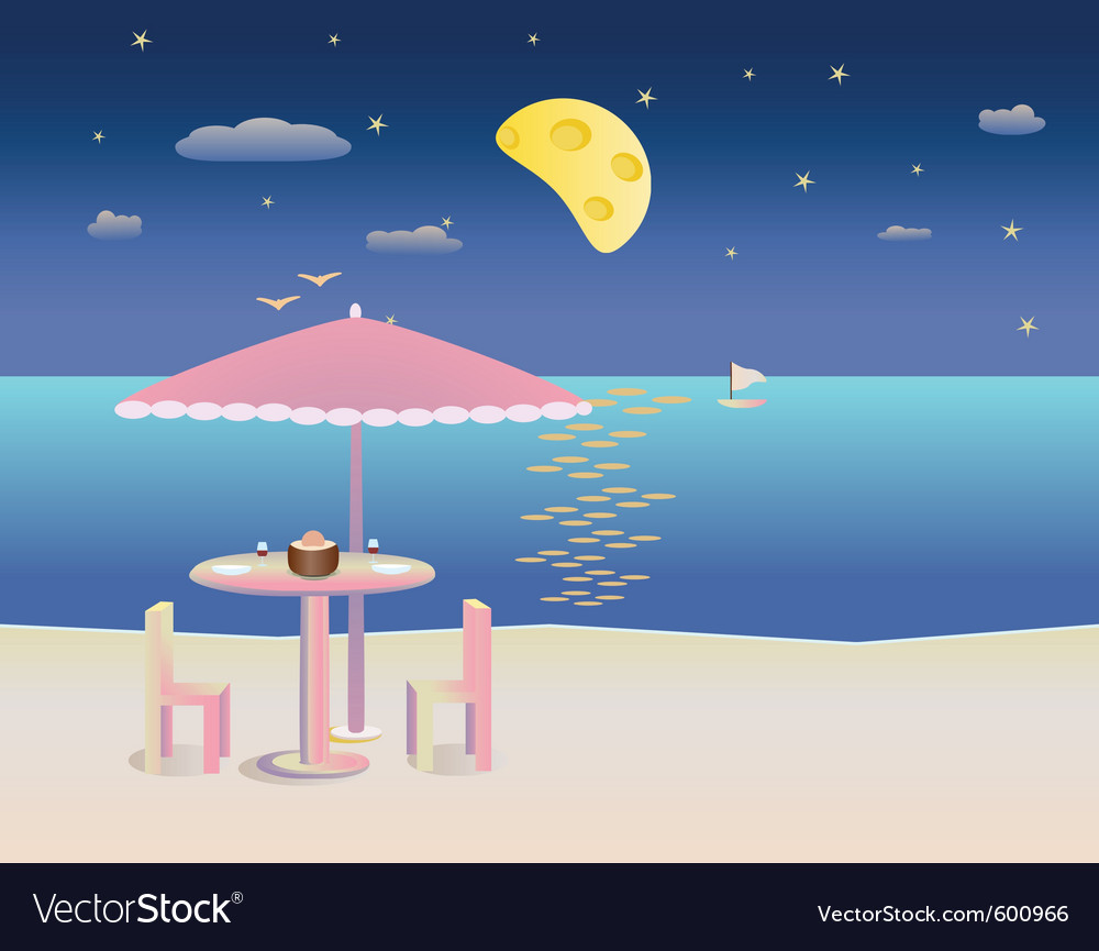 Romantic ocean table vector | Price: 1 Credit (USD $1)