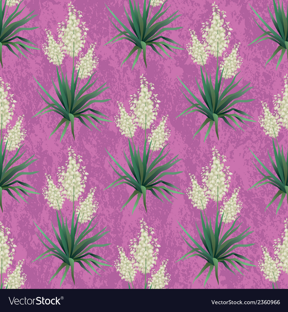 Seamless floral background yucca flowers vector | Price: 1 Credit (USD $1)