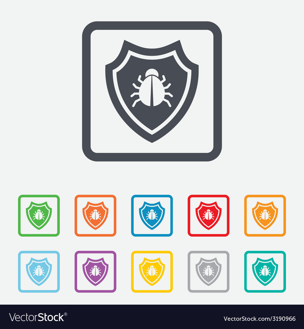 Shield sign icon virus protection symbol vector | Price: 1 Credit (USD $1)