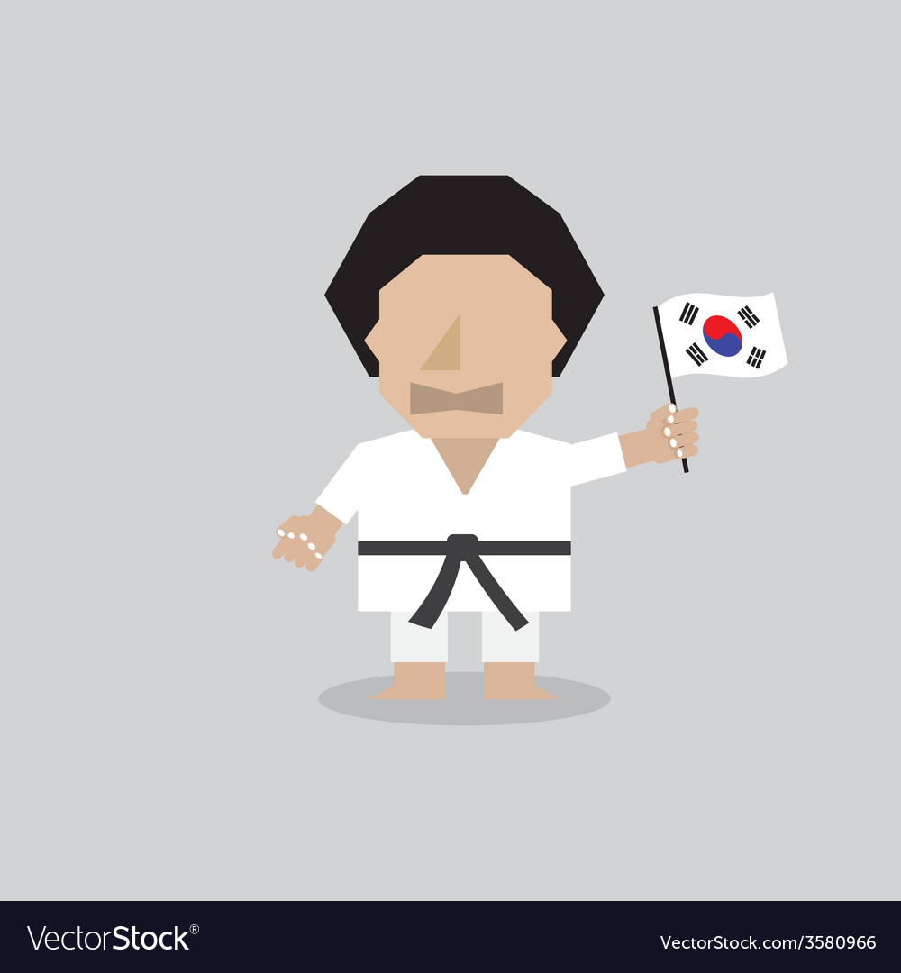 Taekwondo man with south korean flag vector | Price: 1 Credit (USD $1)