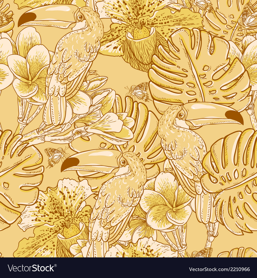 Tropical floral seamless background with toucan vector   Price: 1 Credit (USD $1)