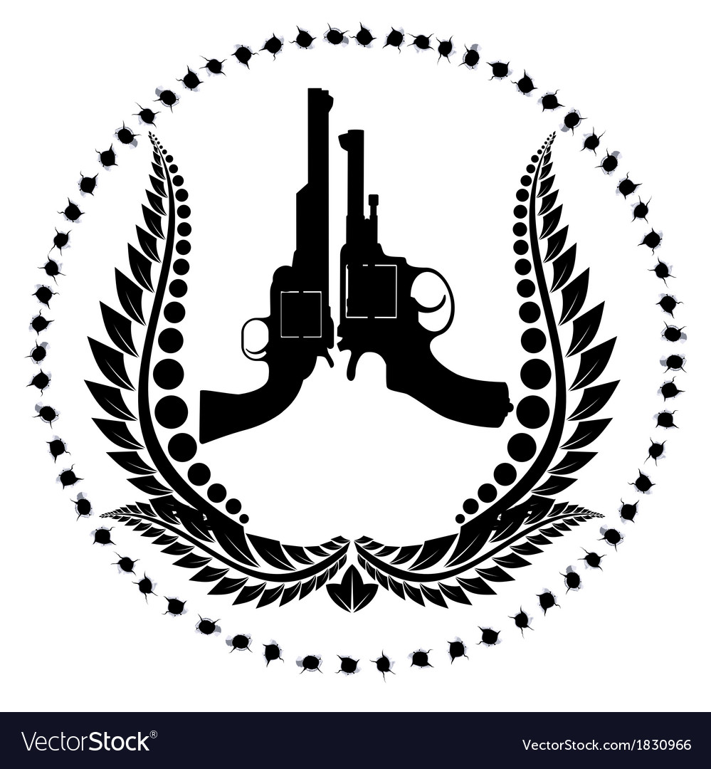 Two revolvers and a wreath vector | Price: 1 Credit (USD $1)