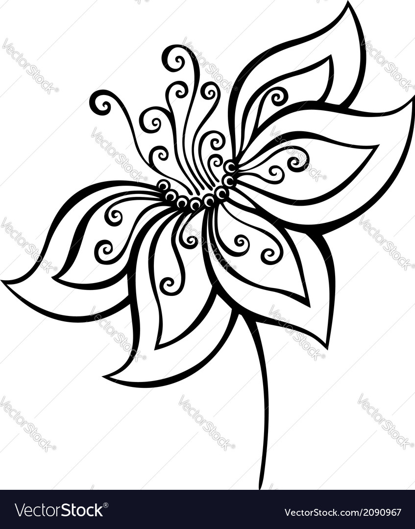 Beautiful decorative flower vector | Price: 1 Credit (USD $1)