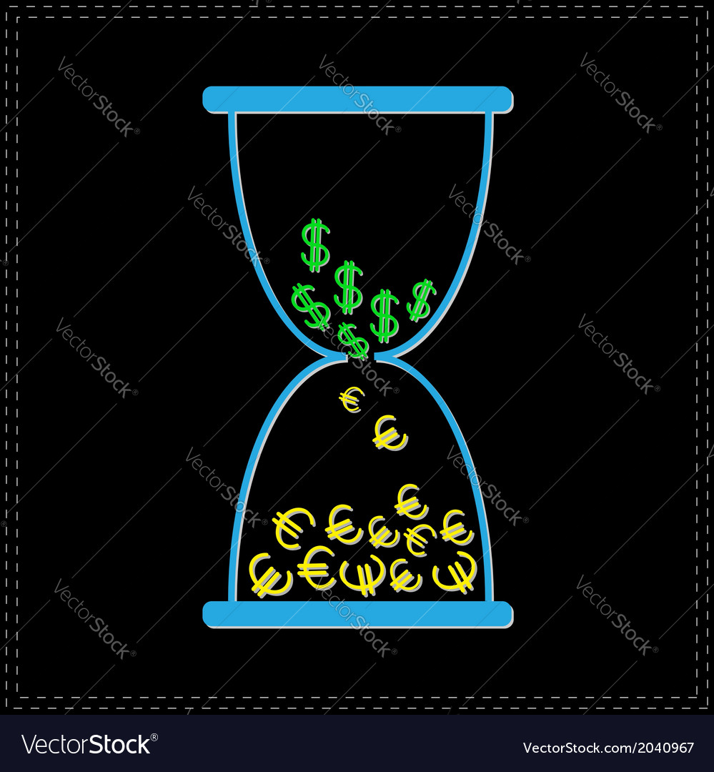 Blue hourglass with dollar and euro money signs vector | Price: 1 Credit (USD $1)