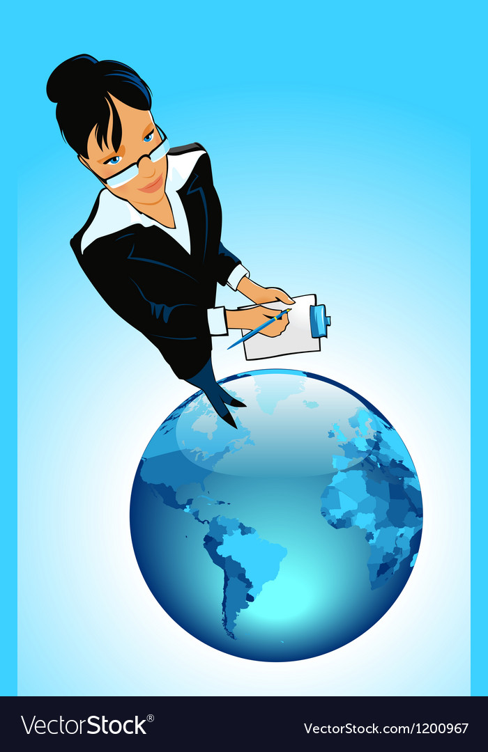 Business woman on globe vector | Price: 1 Credit (USD $1)
