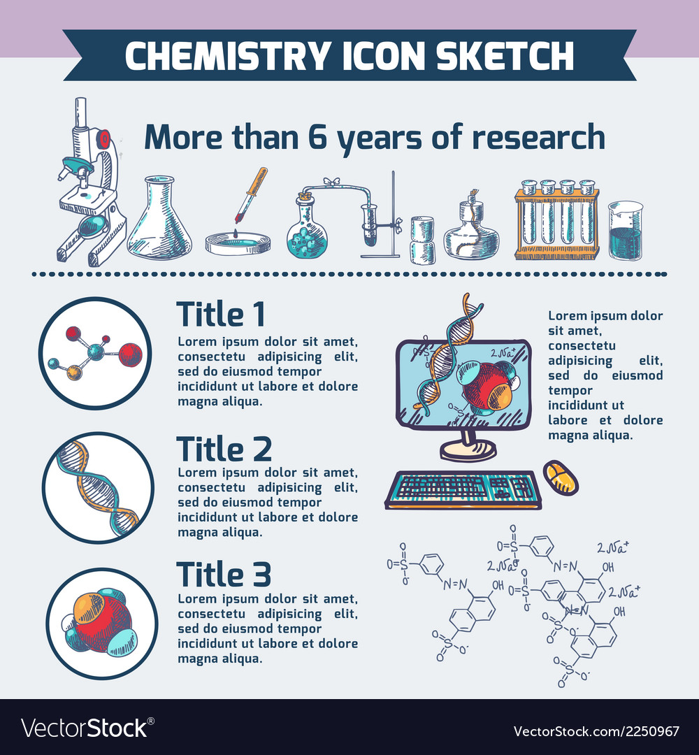 Chemistry research infographic sketch vector | Price: 1 Credit (USD $1)