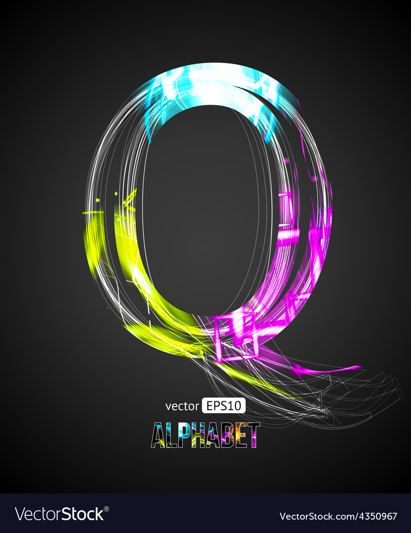 Design light effect alphabet letter q vector | Price: 1 Credit (USD $1)