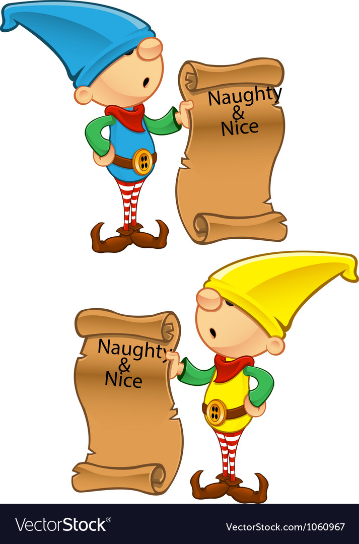 Elf mascot naughty and nice list vector | Price: 1 Credit (USD $1)