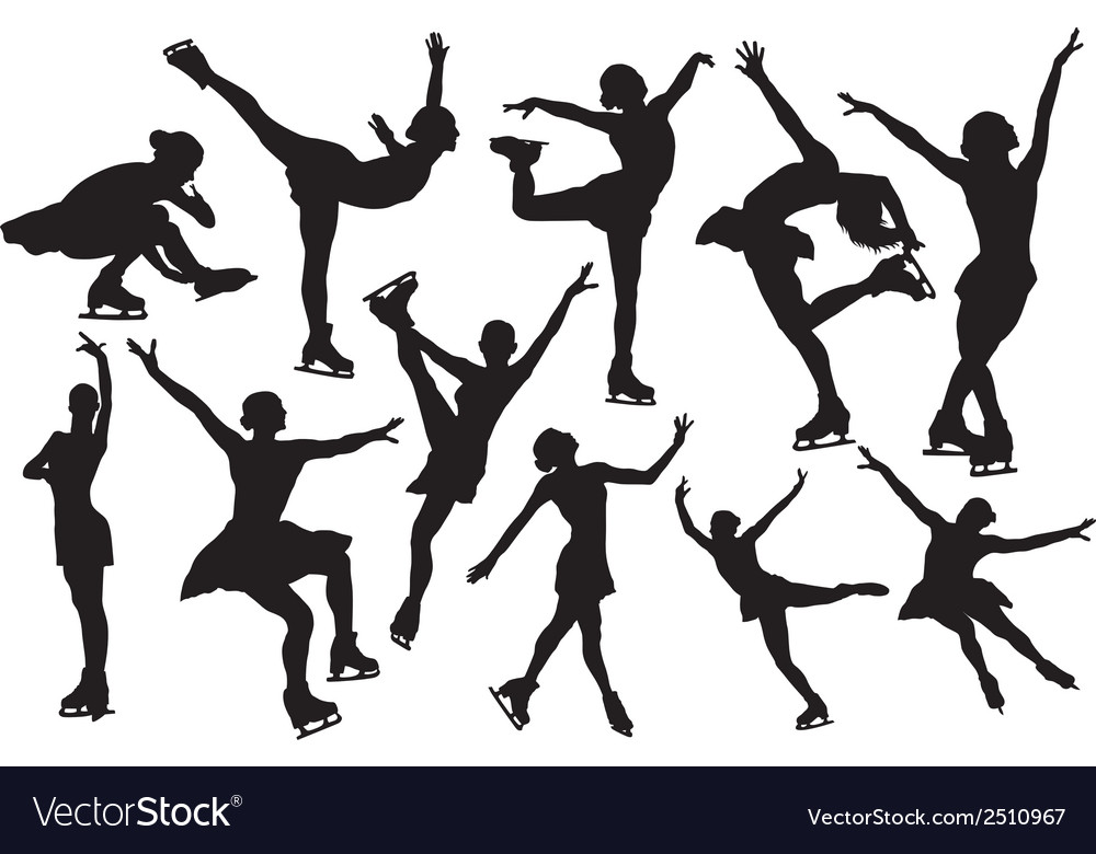 Figure skating silhouette vector | Price: 1 Credit (USD $1)