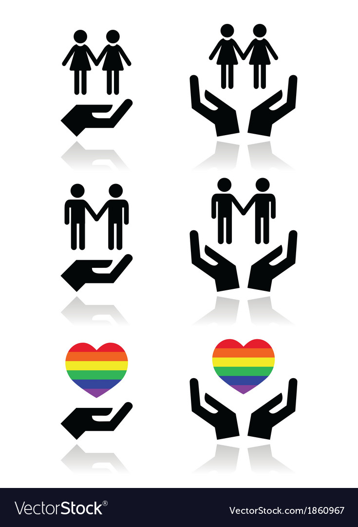 Gay and lesbian couples rainbow flag with hands vector | Price: 1 Credit (USD $1)