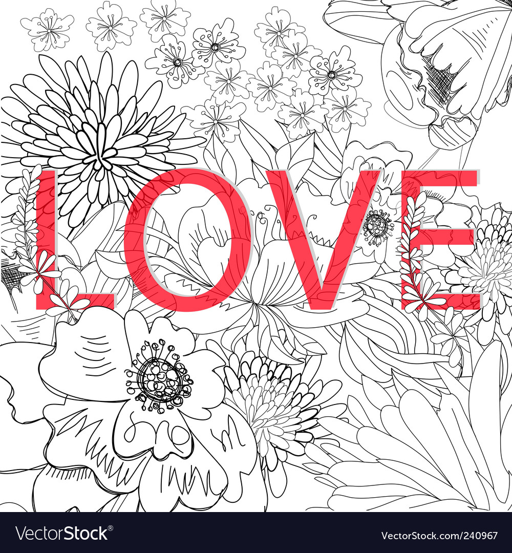 Inscription love on floral background vector | Price: 1 Credit (USD $1)