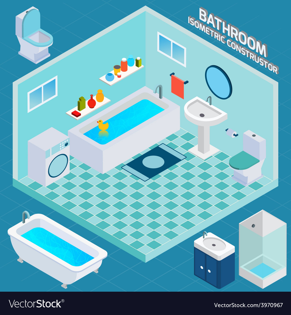 Isometric bathroom interior vector | Price: 1 Credit (USD $1)