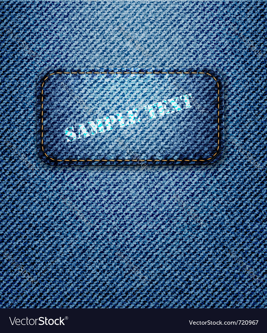 Jeans label on jeans background vector | Price: 1 Credit (USD $1)
