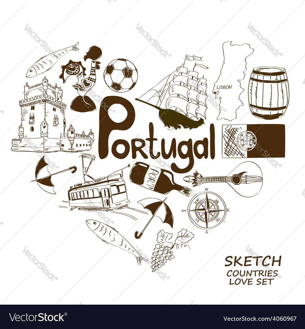 Portuguese symbols in heart shape concept vector | Price: 1 Credit (USD $1)