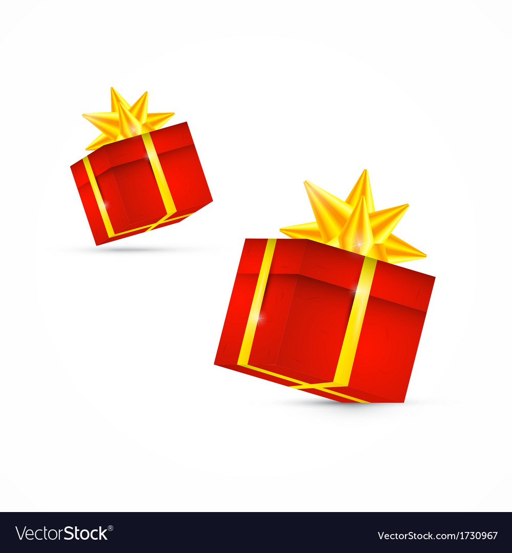 Red present box gift box set vector | Price: 1 Credit (USD $1)