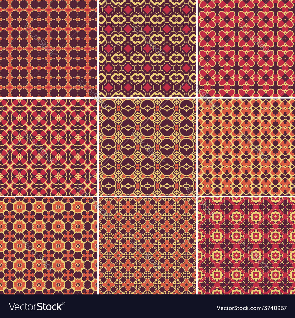 Set of 9 seamless geometric patterns vector | Price: 1 Credit (USD $1)