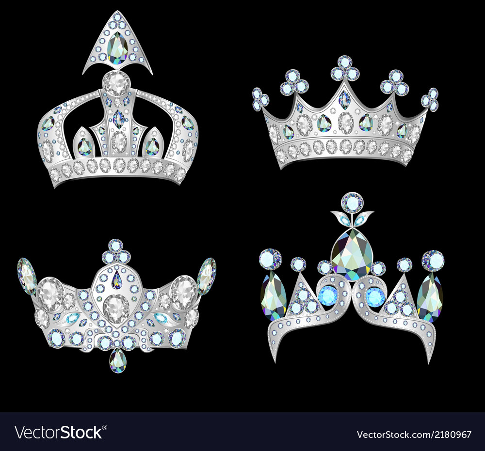 Set silver crowns vector | Price: 1 Credit (USD $1)