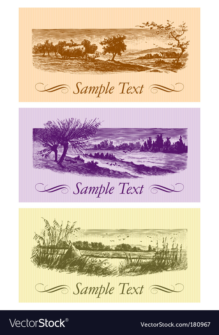 Vintage cards set vector